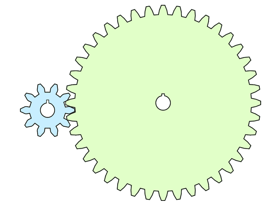 A simple drawing of two gears with an 10-toothed input gear and a 50-toothed output gear