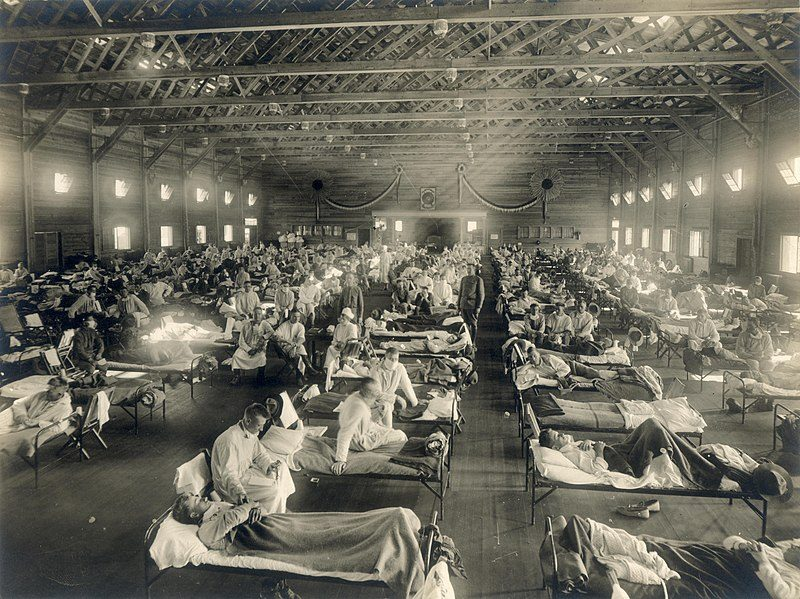 Historical picture of hospital ward during Spanish flu