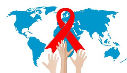 World map with red ribbon (symbol for the solidarity of people living with HIV/AIDS)