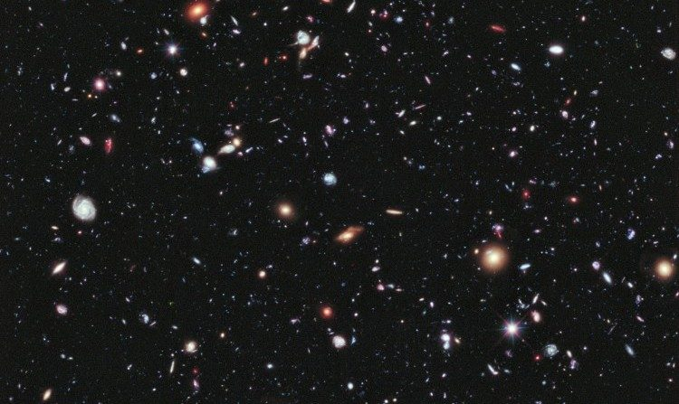 Deep field image of far away galaxies taken by the Hubble telescope