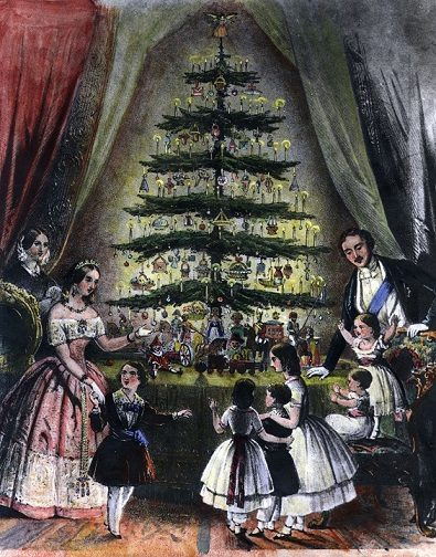 Christmas tree historical painting - Queen Victoria and Prince Albert with Christmas tree in 19 century