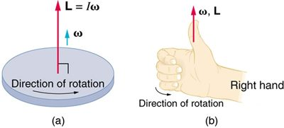 The right-hand rule for direction of angular momentum