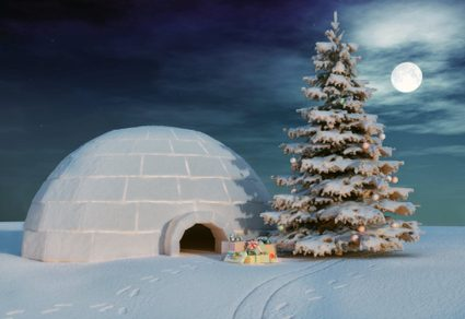 Igloo with a Christmas tree and a pile of presents