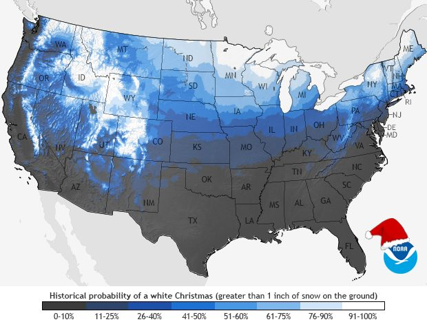 A map showing the historical probability of a White Christmas according to NOAA
