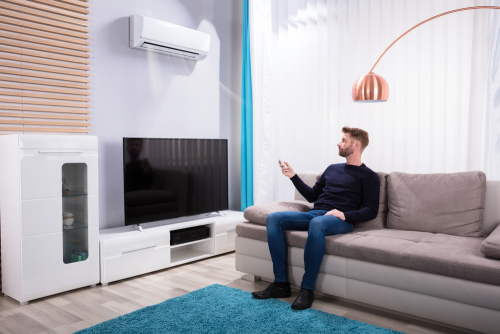 An image of a room with an installed air conditioner