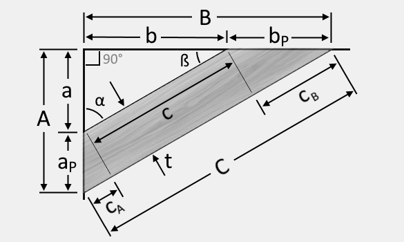 Illustration of a cross bracing showing the angle cuts and the variables for its dimensions.