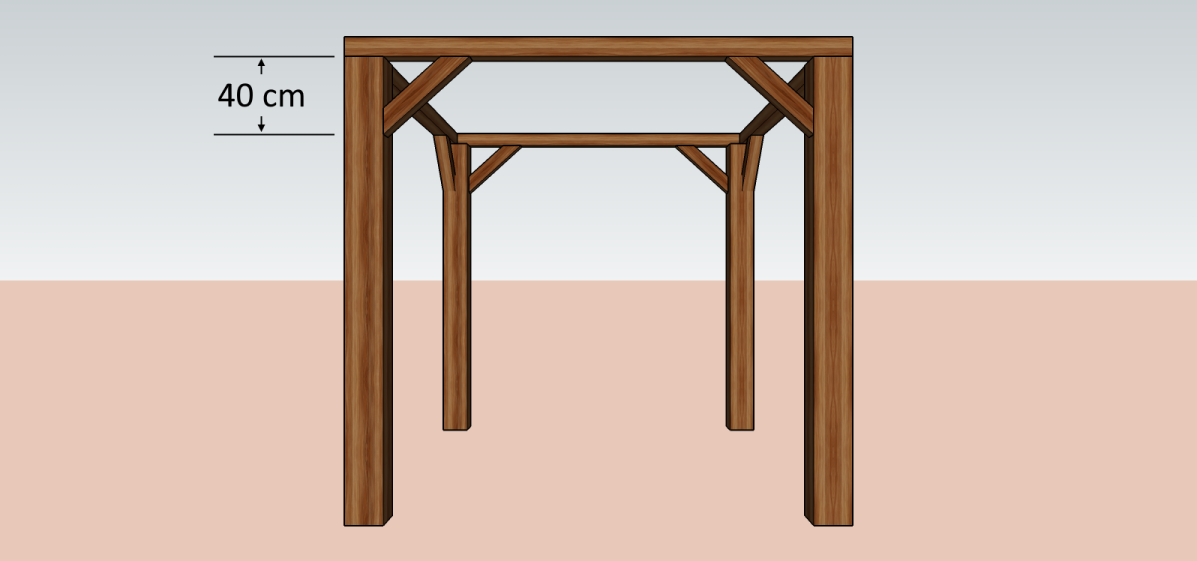 Image of an open shed with framing that needs additional knee bracings.