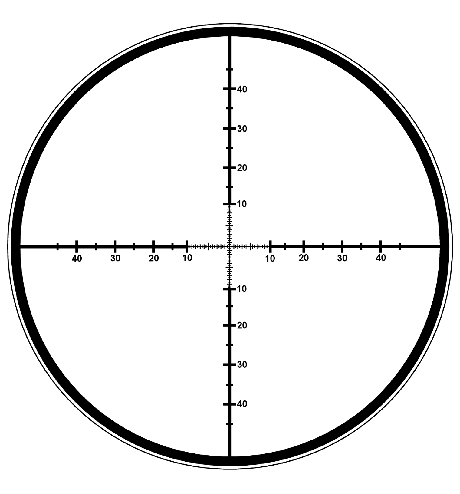 The picture of a reticle with vertical and horizontal scales