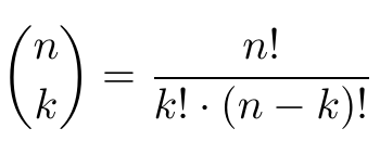 Binomial coefficient formula
