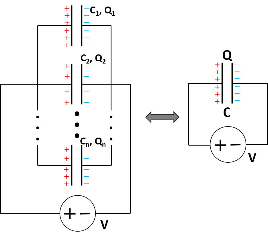 Capacitors in parallel - simplified diagram