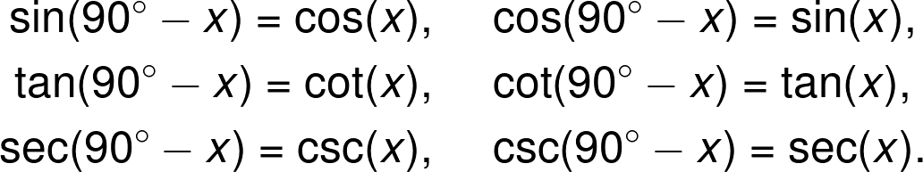 The cofunction identities.