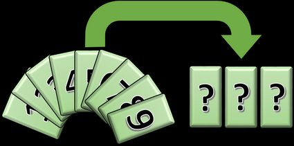 Nine cards with digits 1 to 9, and three cards with question mark.