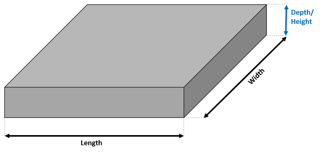 A sample concrete slab with marked dimensions