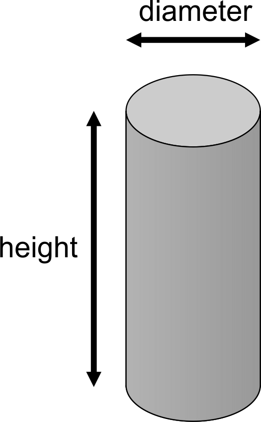 Diagram of a round cylindrical column showing its diameter and height.