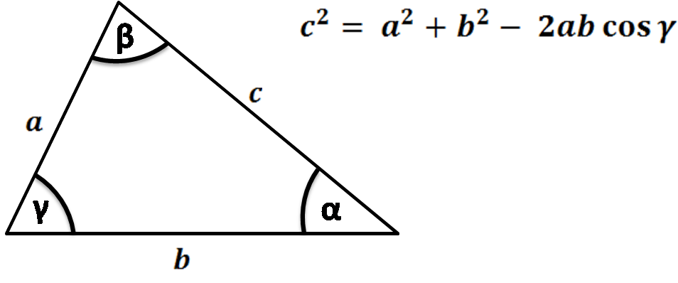 triangle sides and angles, law of cosines formula