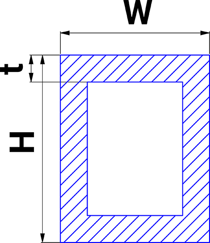 Hollow rectangles with sides - H and W having thickness t