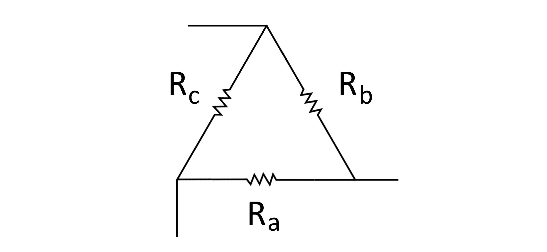 Simple diagram of resistors (represented by zigzag lines) forming a triangle or delta configuration.