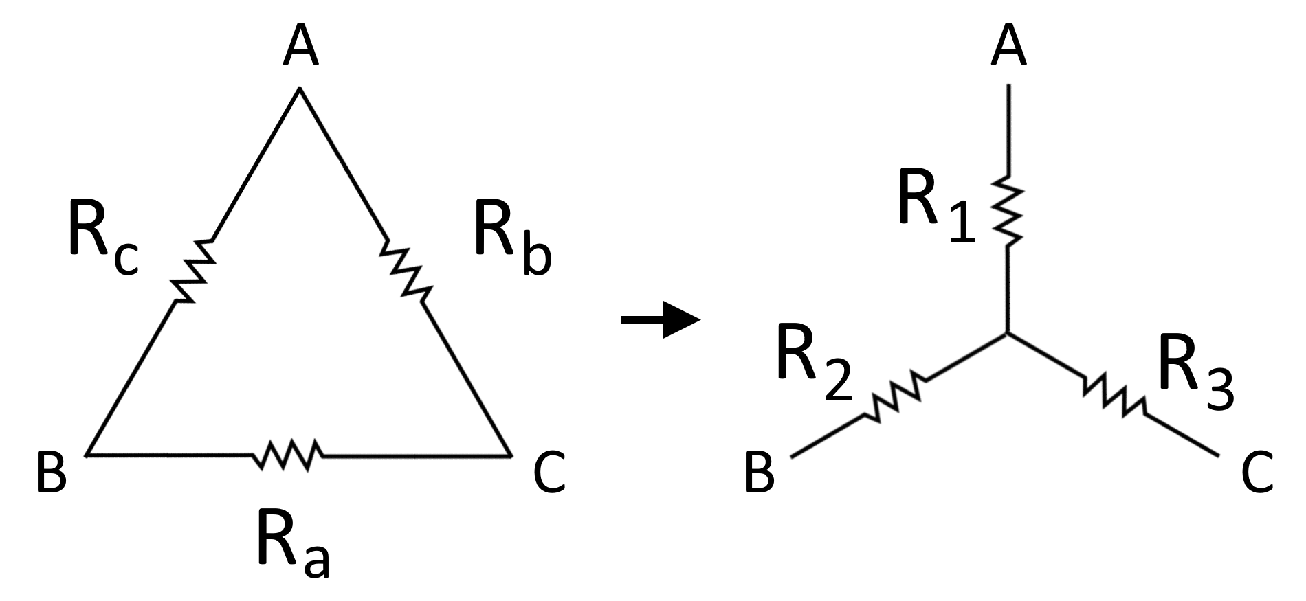 Illustration of a delta network with labels for each resistor and nodes, as well as the converted equivalent wye network with labels for each new resistor.