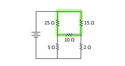 Diagram of a simple complete circuit with power source, three resistors in a delta configuration, and two more resistors to complete the circuit.