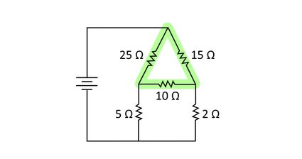 Simplified diagram of to illustrate the triangular delta representation of the delta network in the circuit.