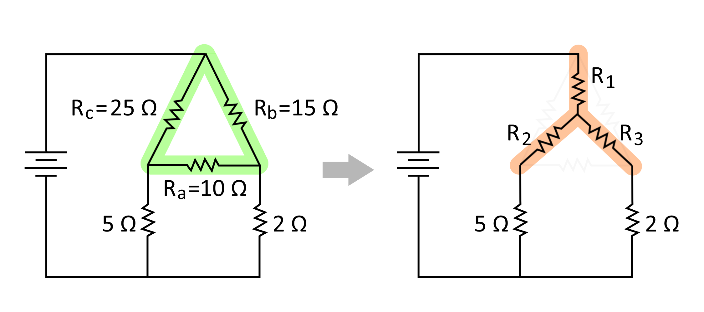 Circuit diagrams of resistors in delta configuration (highlighted in green) that will be converted to a wye configuration (highlighted in orange).