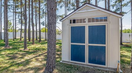 The image of a simple backyard shed.