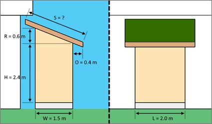 The diagram of the slanted-roofed shed with its corresponding dimensions and measurements.