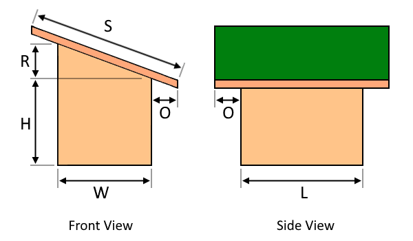 The illustration of a slant-roof shed with its corresponding dimensions.
