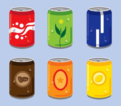 Six cans of sweetened beverages