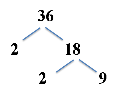 factor tree example, 36 split into 2 and 18, 18 into 2 and 9
