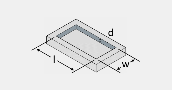 The illustration of a rectangular fire pit with its length, width, and thickness.