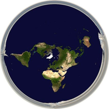 Physical world map in Hellerick triaxial boreal projection