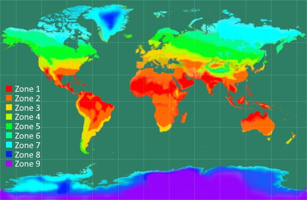 The illustration of the different climate zones in the world with color legend.