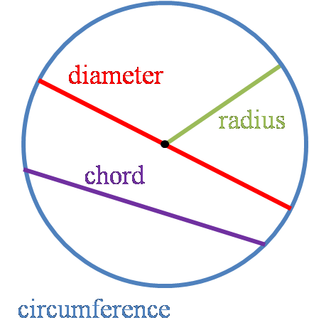 Image of the special lines of the circle - diameter, radius, chord and circumference