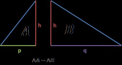 Triangle A with legs h and p and angle α, traingle b with legs h and q and angle β. Triangles similarity.