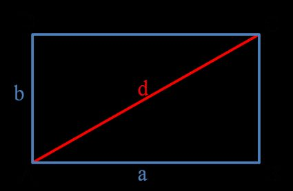 How to find area of a rectangle - rectangle ABCD with sides a and b anf diagonal d