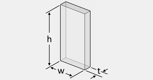 The illustration of a rectangular glass sheet that shows its length, width, and thickness.