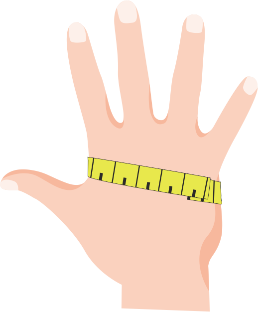 Measurement of the hand for fitting a glove by measuring tape