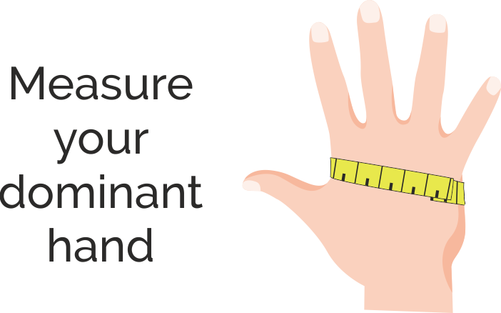 Measurement of the hand for fitting a glove. Lay your hand flat, wrap the tape around your palm, just below knuckles, and read the result