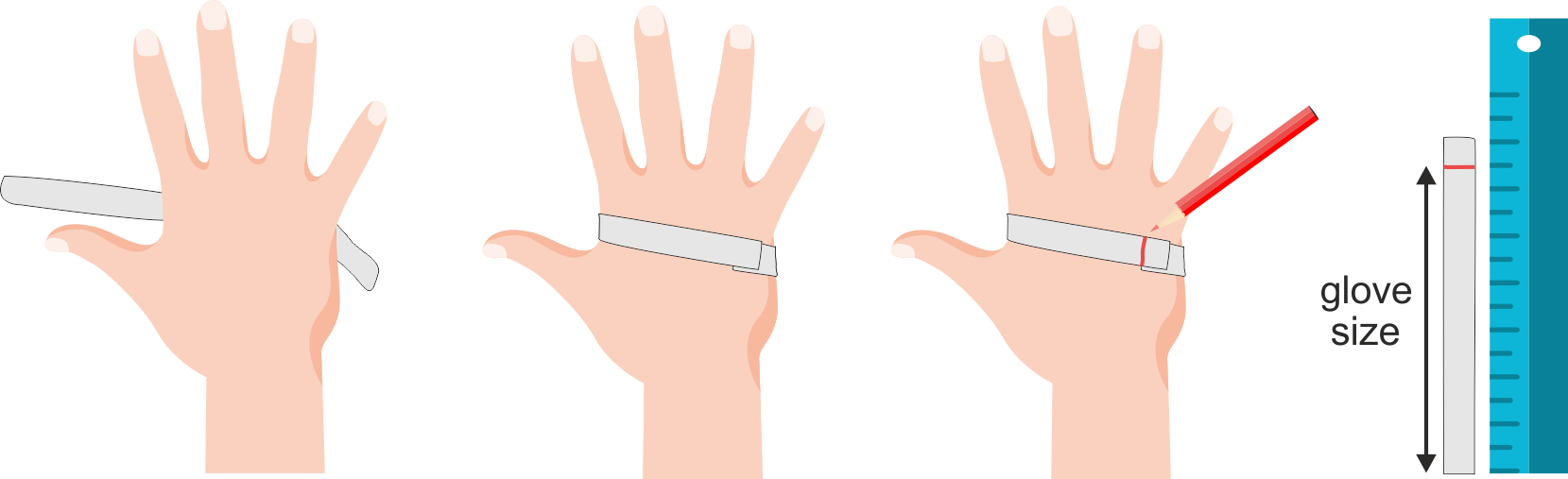 Alternative method of hand measurement for glove fitting