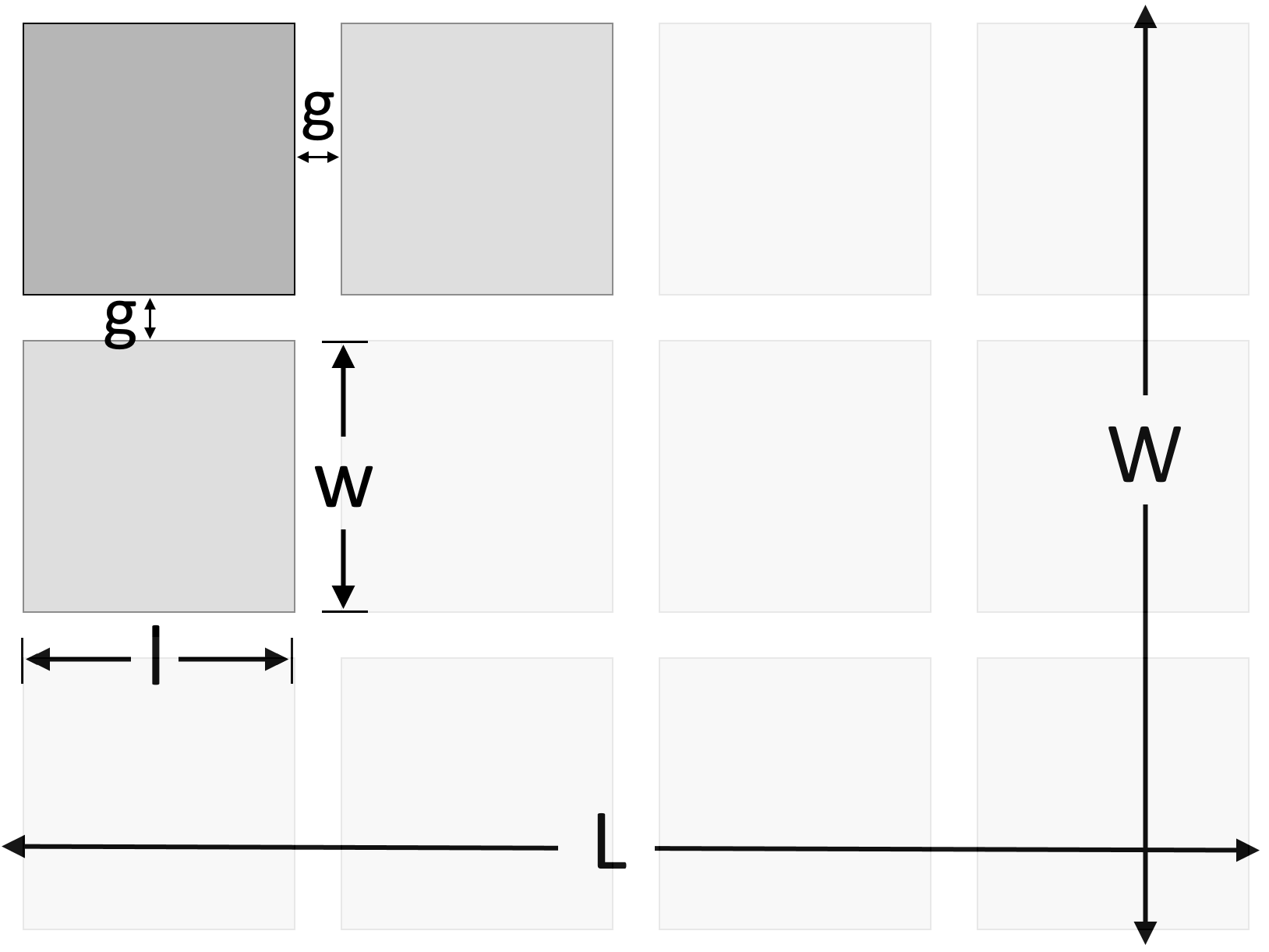 Illustration showing the dimensions of the tiles to be used and the dimensions of the area to be tiled.