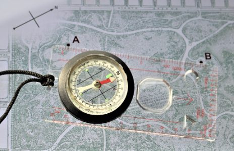 example use of magnetic declination with a compass and map