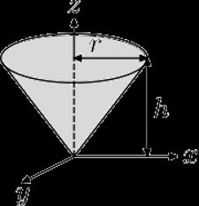 The picture of a solid right circular cone