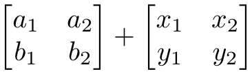 The sum of two matrices.