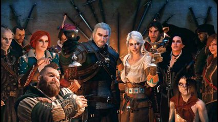 Picture showing various Witcher 3 characters celebrating together.