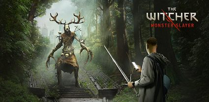 A promotional picture showing a creature and a player holding his smartphone and a sword