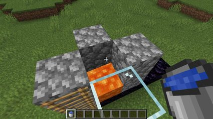 The bucket method of making a Nether portal without mining obsidian directly.