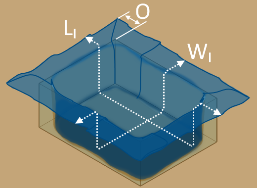 The diagram of a rectangular pond liner with its dimensions.