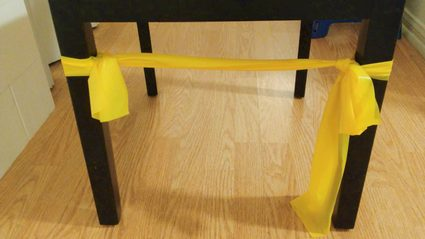 Setting up the resistance band as a projectile launcher