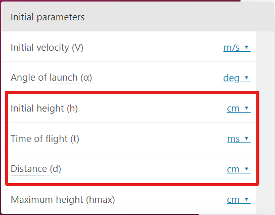 How to use the projectile motion calculator